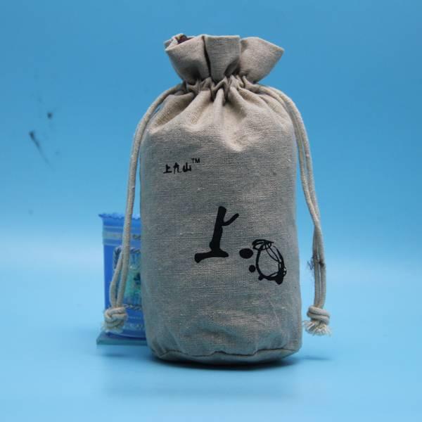 eco jute drawstring bag for wine bottle packing