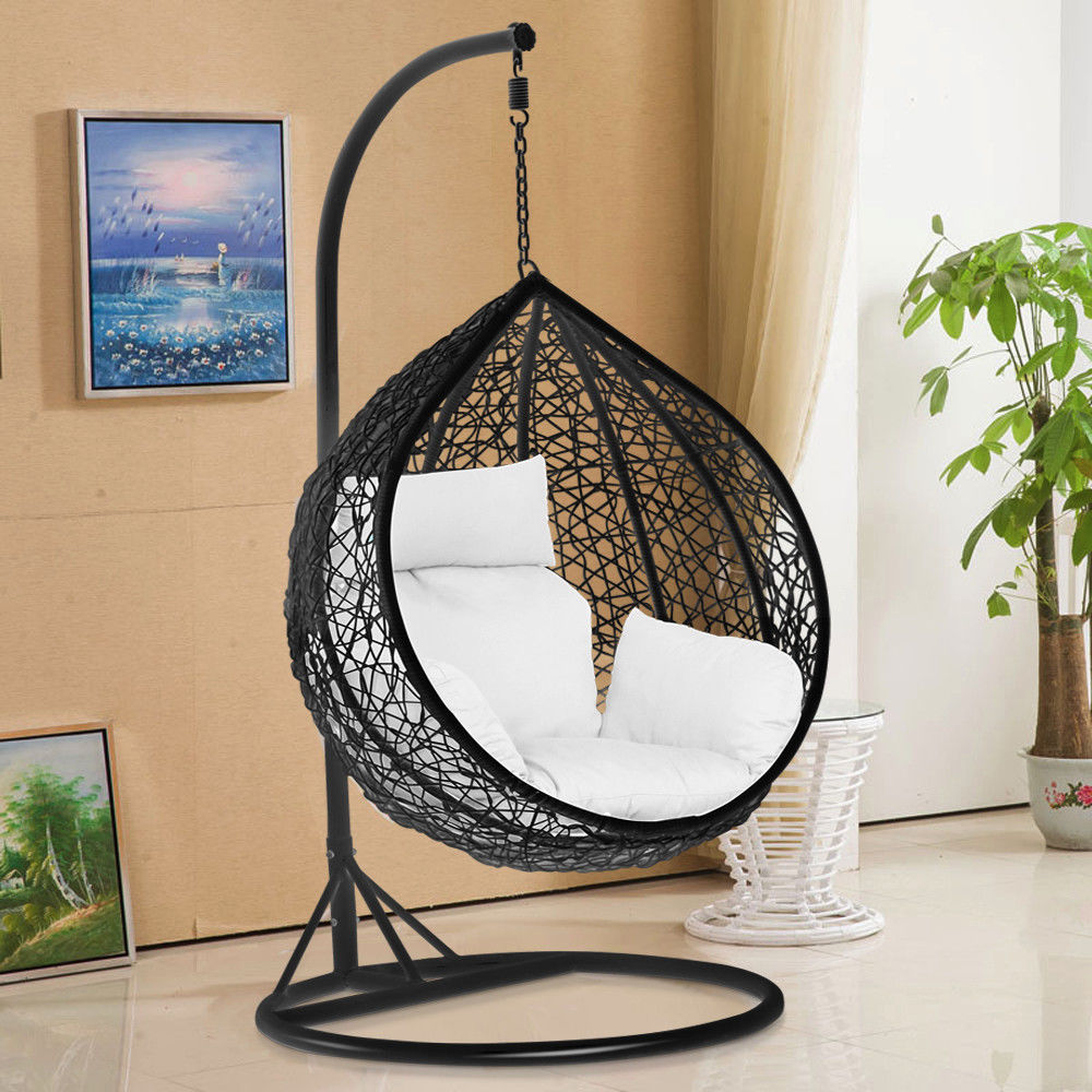 cheap comfortable all weather cheap price bedroom balcony rattan wicker egg shape hanging basket swi