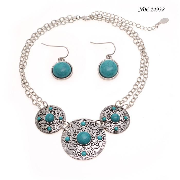 Silver Turquoise Earring Necklace Set
