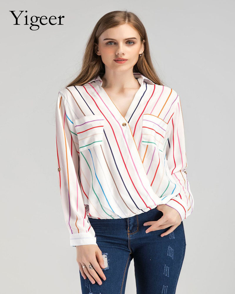 Long Sleeve Feminine Striped Shirt Blouse