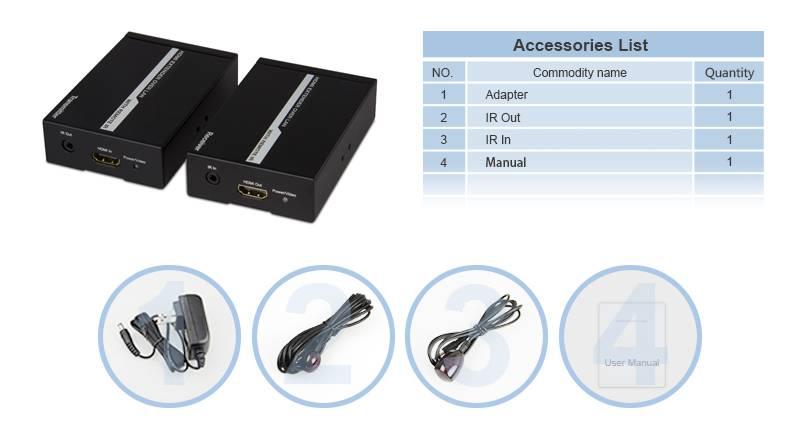 HDMI Extender, 120M TCP-IP with IR HDMI Extender 1080P with IR