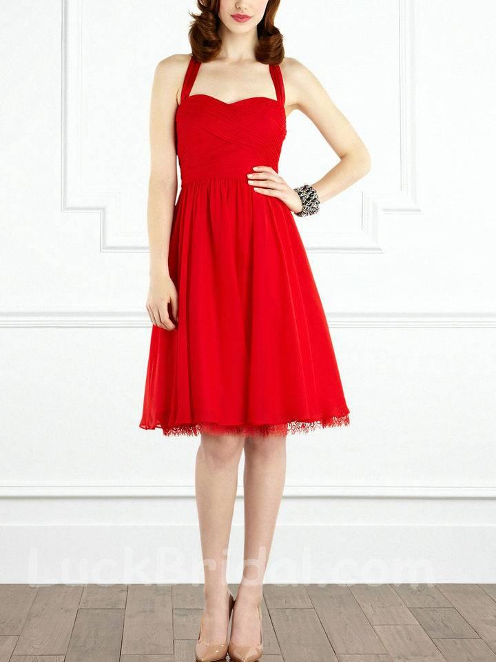 A Line Chiffon Bridesmaid Dress Ruffled Lace Bridesmaid Gown