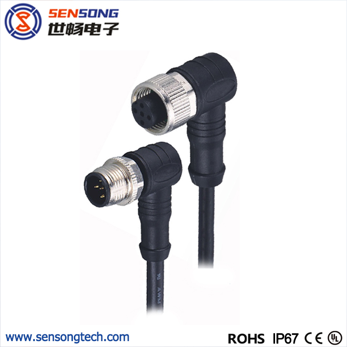 M12 Circular Sensor Connector PUR Molded Cable Female Male