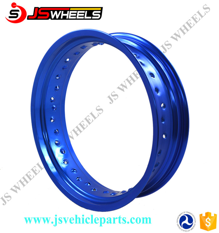 17 Inch Black And Blue Motorcycle Alloy Wheel Rim For Supermoto Racing