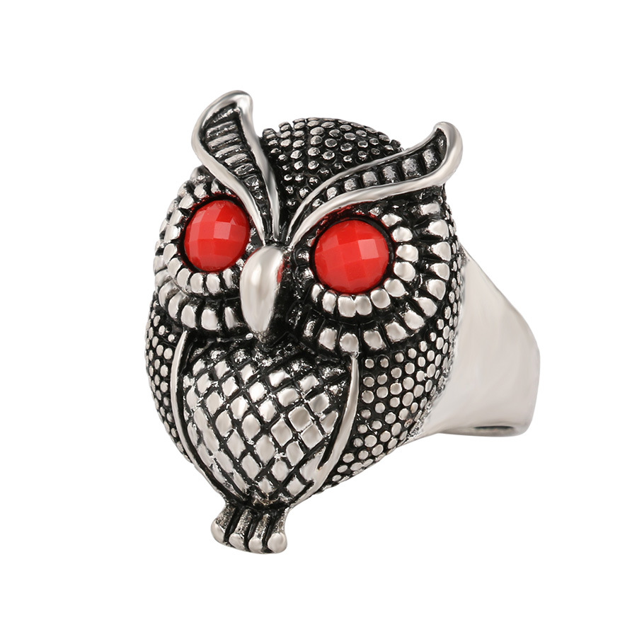 Alloy Electroplated Owl Gemstone Ring