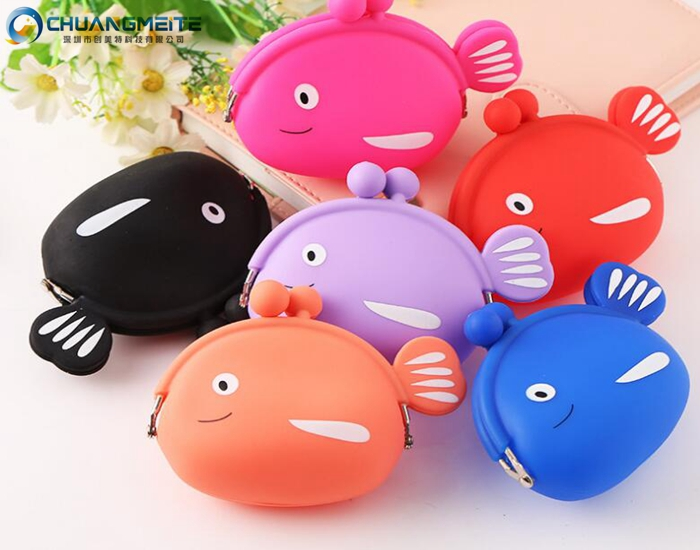 New style eco-friendly lovely cartoon fish shaped silicone coin purses wallets bags