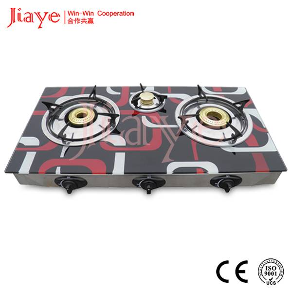 Glass Top Triple Burner table gas stove, gas cooker