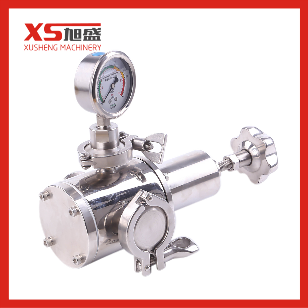 Stainless Steel Sanitary 304 316L Gas Pressure Reducing Valve With pressure gage
