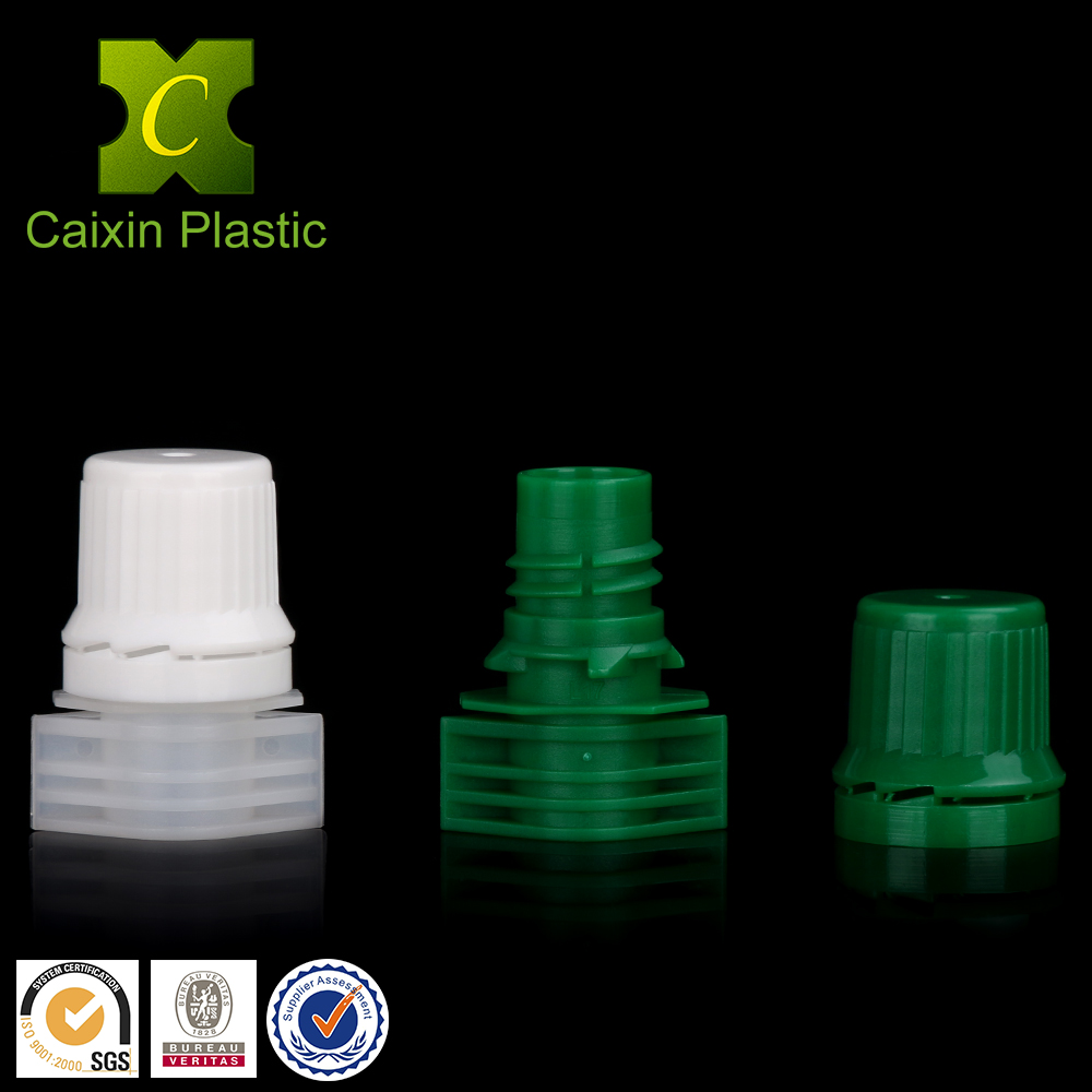 9.6mm short wing non spilling cap with plastic spouts for pouches