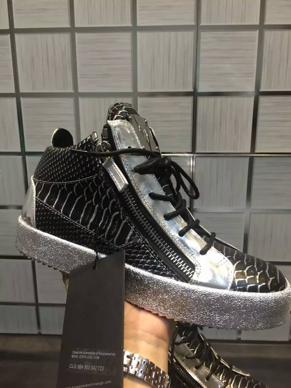 Free Delivery 2016SS g zanotti shoes Grey mirrored crocodile-embossed men sneakers Mid-Top zanotti s
