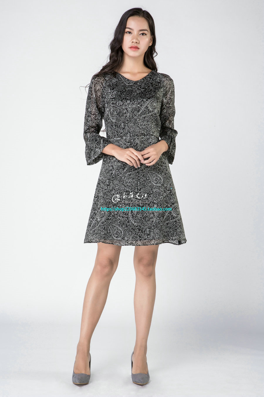 Gaoping  Wenqiong G1630 women silk long sleeve dress