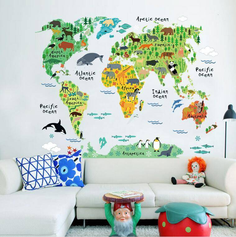 Home Decor World Map Wall Sticker Removable for Kids Bedroom Wall Stickers