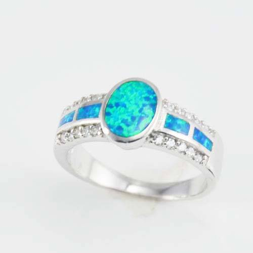 Fashion jewelry silver opal ring for wholesale