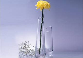 mouth blown glass vase for decoration for single flower