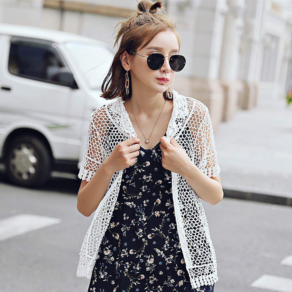Hollow Lace Shirt Short Sleeve Lace Holder Blouse Short Lace Perspective Cardigan
