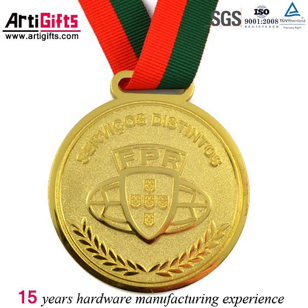 Custom-made zinc alloy gold neck ribbons medals