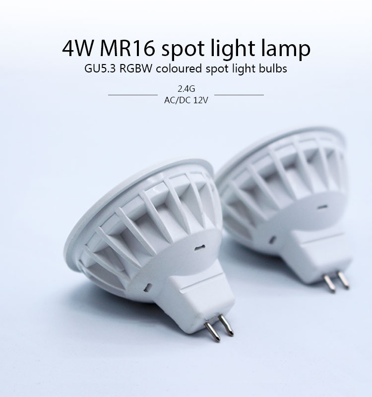 4W GU5.3 mr16 rgbw intelligent led bulbs colored multifunctions rgbw led spotlight bulb with CE&Rohs