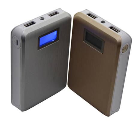 SJ-Y104DJ   8800mAh  UV coating LCD dual USB high quality large portable  power bank  with LED