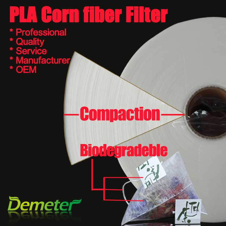 Biodegradable corn fiber roll for pyramid tea bags