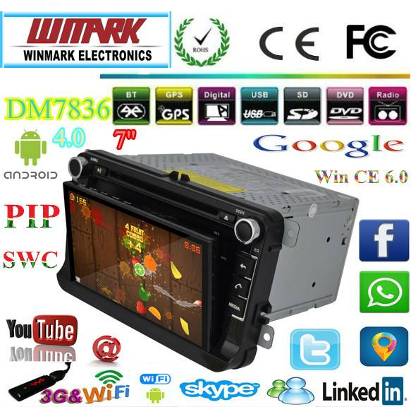 2 din 7 inch touch screen android 4.0 for the talblet and win CE 6.0 for the main unit dvd gps car r