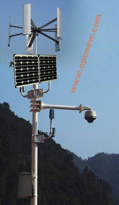 Vertical Axis Wind and Solar Hybrid CCTV System (Closed Circuit Television Monitoring and Surveilan)