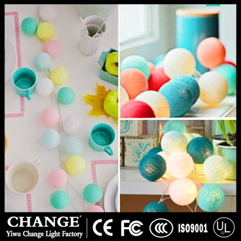 LED Cotton Ball Fairy String Lights Battery Holiday Lamp Wedding Party Christmas Festival Decoration