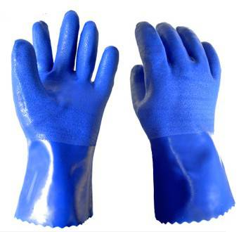 30cm blue sandy fninished PVC working safety gloves