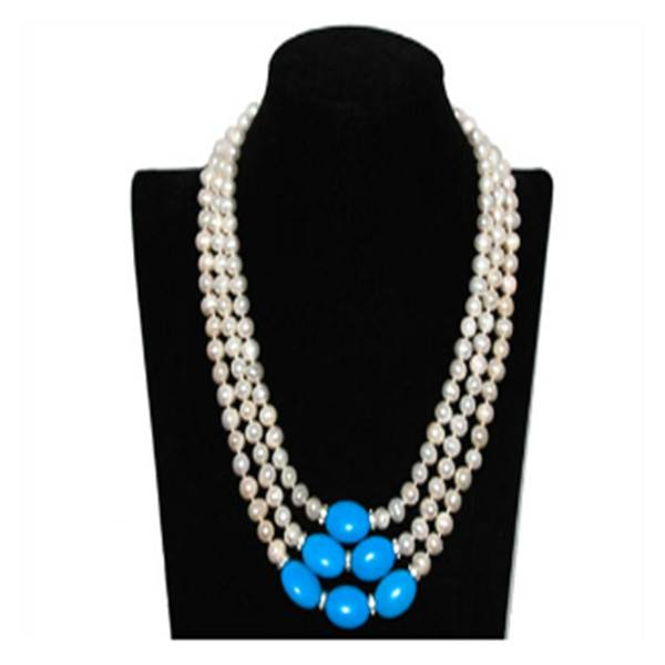 "17-19"" 7-8mm White Pearls & Blue Elliptical Turquoise Necklace"