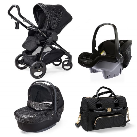 YOUNG VERSACE BABY BLACK STROLLER & TRAVEL SET (4 PIECE)