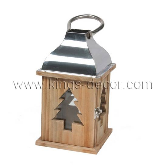 Christmas decoration use tree shape wood candle lantern