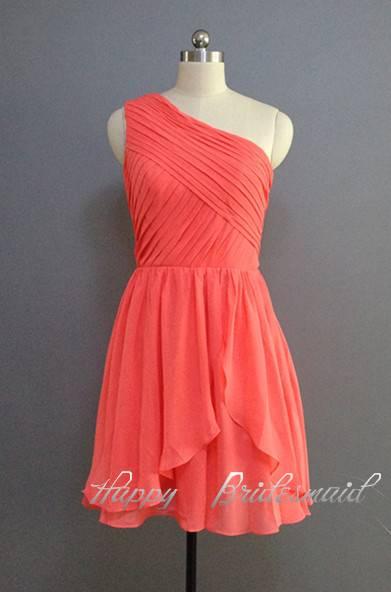 Coral Bridesmaid Dress, One Shoulder Short Dress, Evening Dress