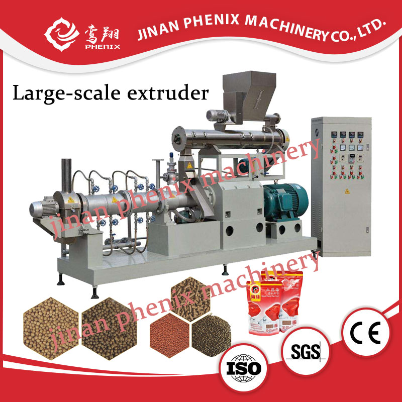 floating fish feed pellet twin screw extruder making machine