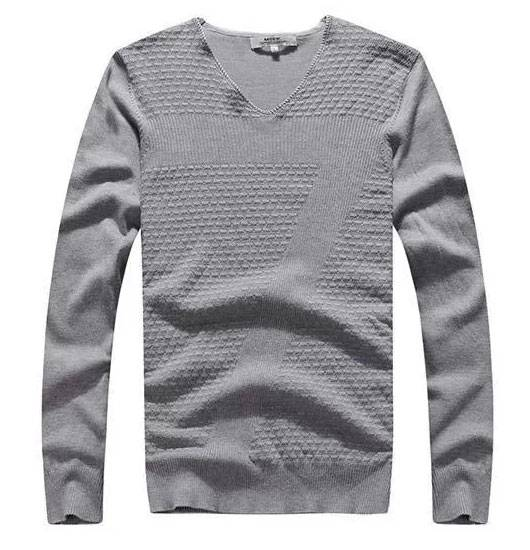 Solid Color Mens Knit Sweater For Autumn Season