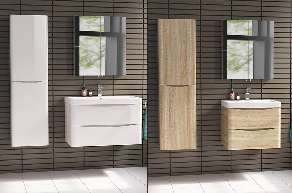 White. Black and Wood High Gloss Lacquer Modern Style Furniture Bathroom Cabinet-P9072