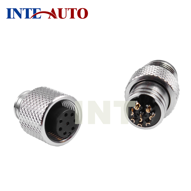 12mm connector M12 3,4,5,8 pins plug and socket, cable connector