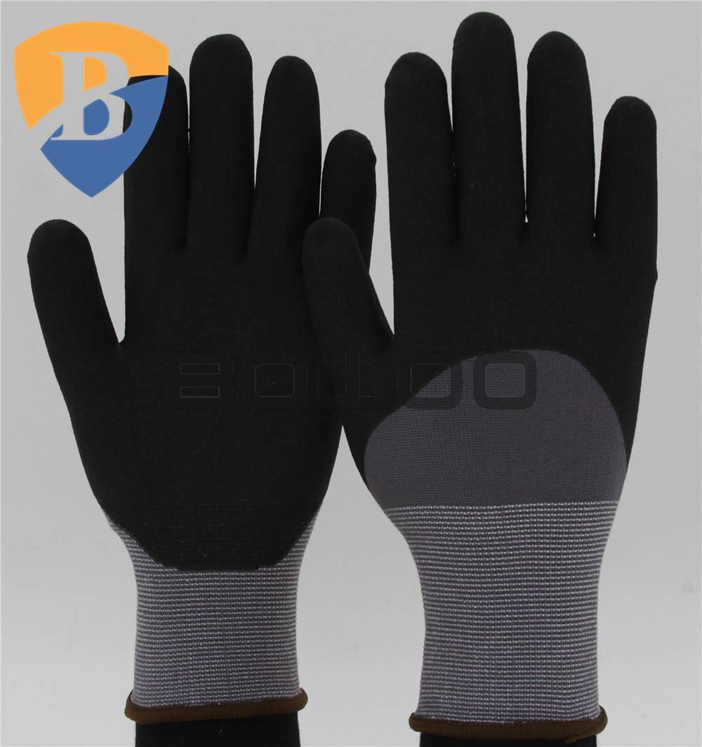 13G nylon nitrile coated safety working glove