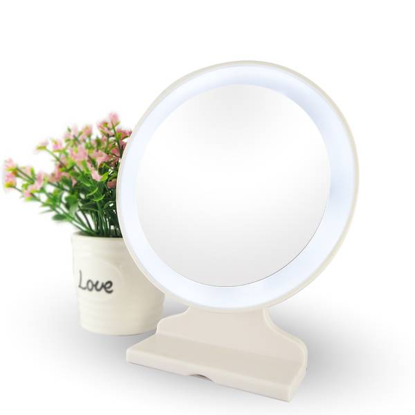 Single side table standing battery operated makeup mirror with lights
