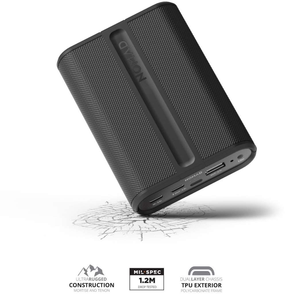 Nomad Advanced Trackable PowerPack - Rugged and Powerful - Advanced 9000mAh Backup Battery - Integra