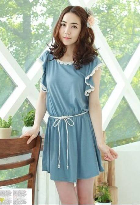 Flounce Short Sleeve Tie-waist Cotton Dress