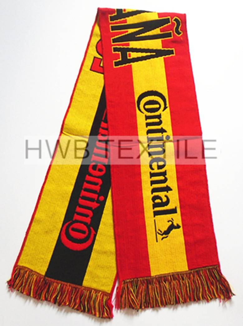 promotion acrylic jacquard football fans scarf