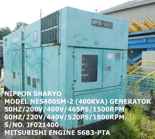 NIPPON SHARYO MODEL NES400SM-2 (400KVA) GENERATOR S/NO. JF021400 WITH MITSUBISHI MODEL S6B3-PTA ENGI