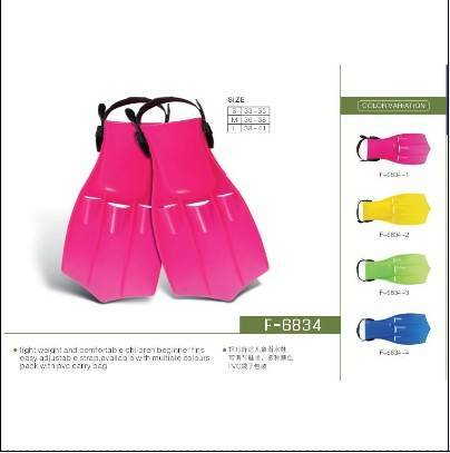Several size diving fins for diving equipment