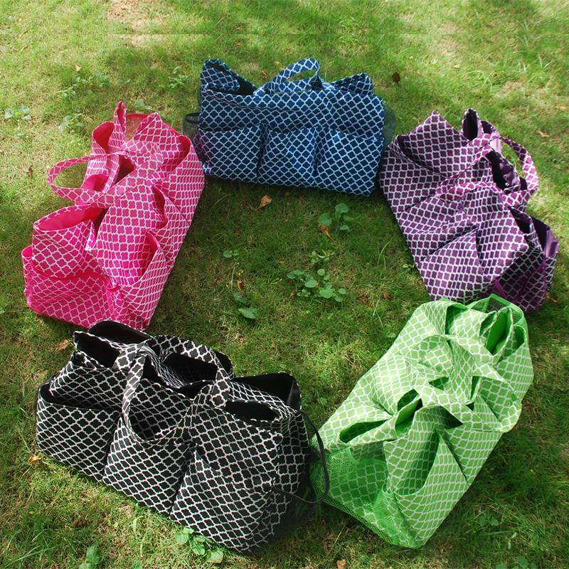 Extra Large Quatrefoil Garden Tool Organizer Bag