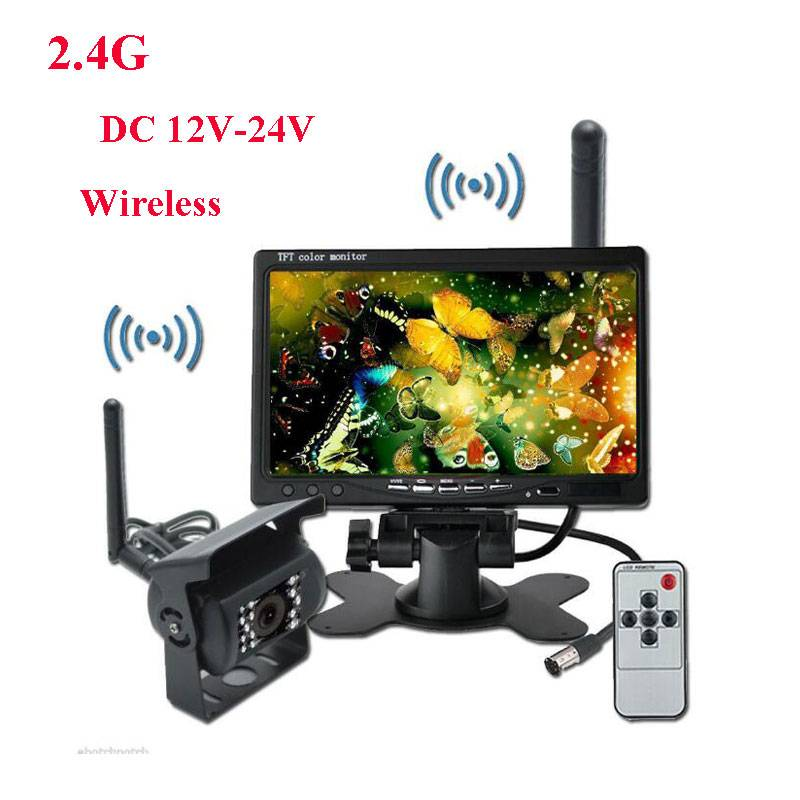 2.4GHz Wireless Car Monitor 7 Inch HD TFT LCD Car Rearview Monitor CCD Car Rear View Backup Reverse