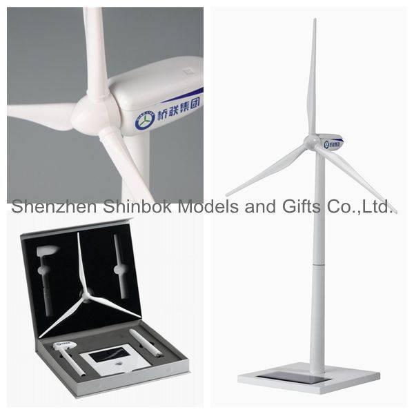 Zinc alloy and ABS plastic blades Solar Wind Turbine Model