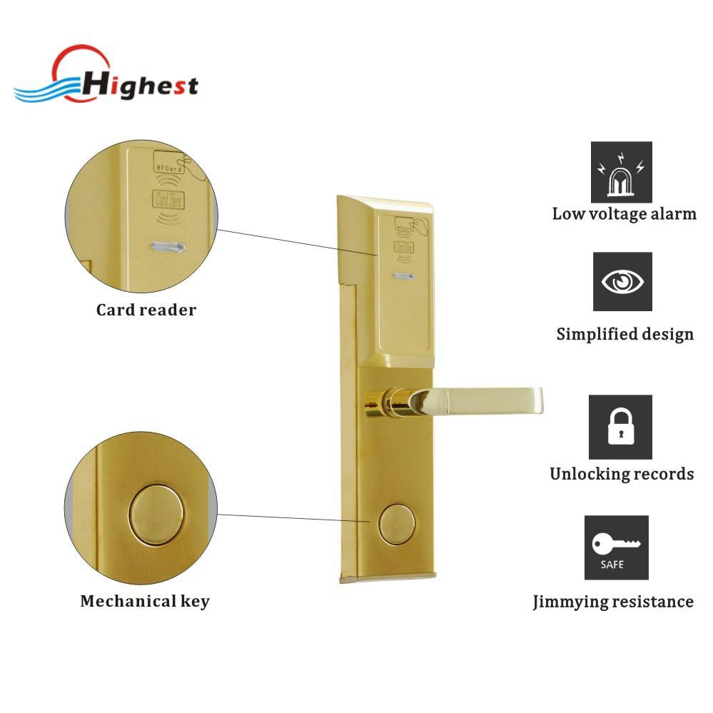 RX118E-J-S2 Hotel Card door lock by T5577 or mifare card