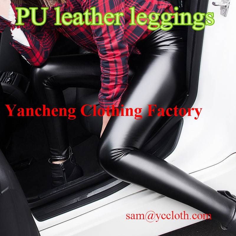 Plus size faux leather fleece lined winter leggings black pu coated sexy pants for women