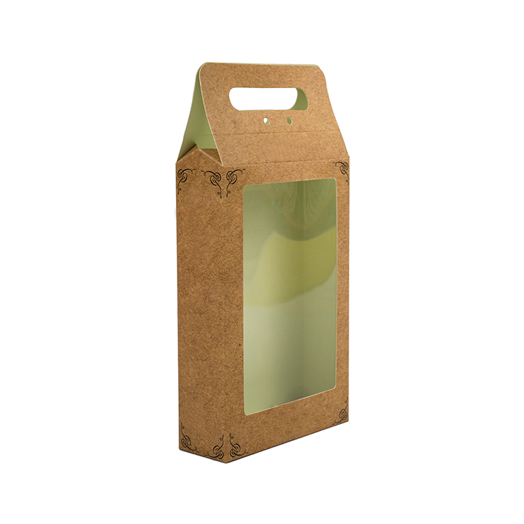 Custom recycled hanging kraft paper box with clear window