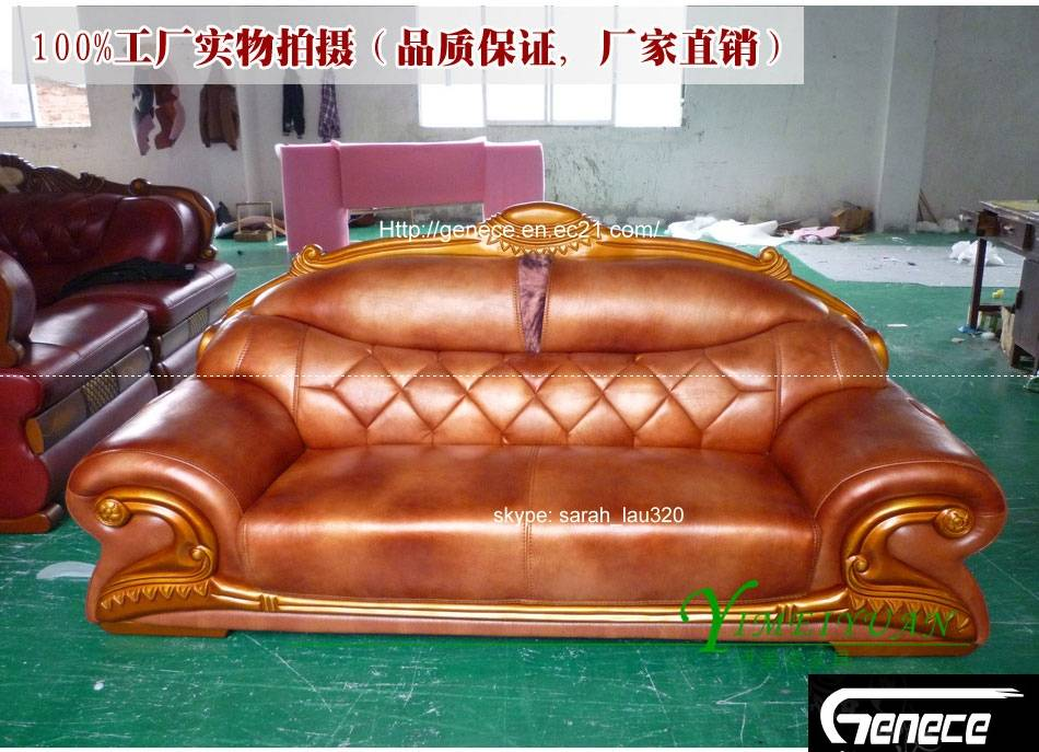 American Style Sofa Set, Top Grain Leather Couch, Home Sofa, House Sofa Set