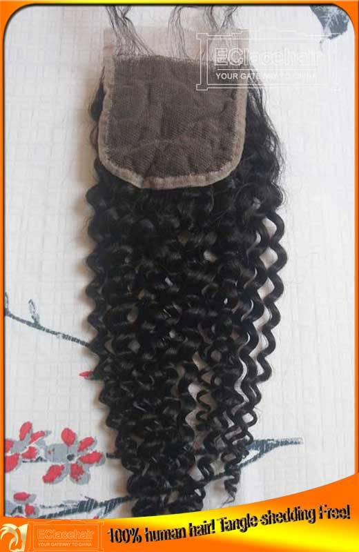 Wholesale Indian Virgin Human Hair Kinky Curl Lace Top Closure,Factory Price,Bleached Knots